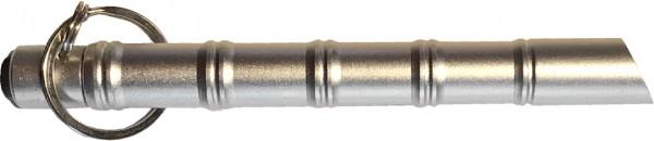 Kubotan Druckverstärker mit LED und Schlüsselanhänger Silber