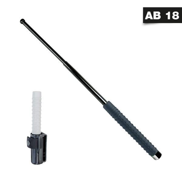 Teleskopschlagstock mit PVC Griff und Profi-Holster 16 Zoll Schwarz