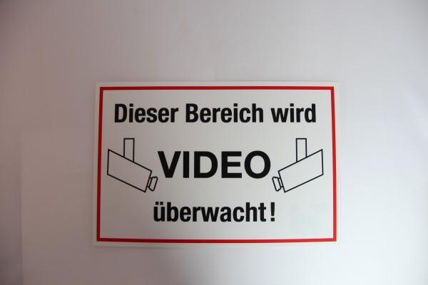 """Warnschild """"Dieser Bereich ist Videoüberwacht"""""""