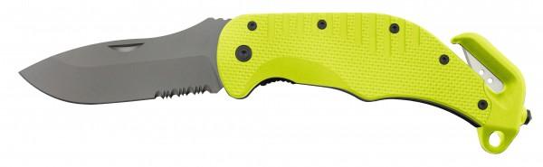 Rettungsmesser mit teilgezahnter Klinge - neongelb