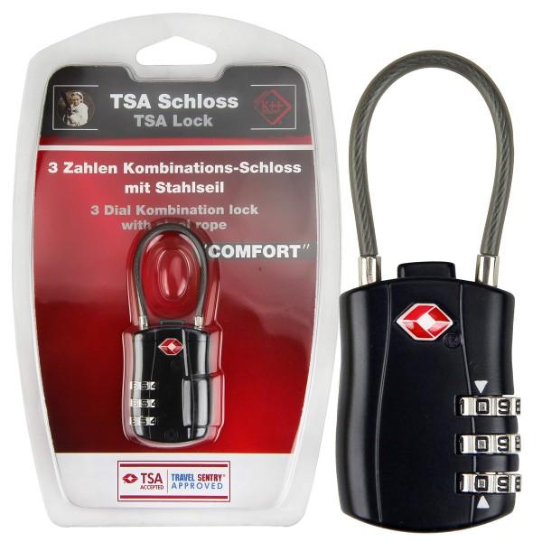 """TSA Kofferschloss """"Comfort"""" mit Stahlseil"""